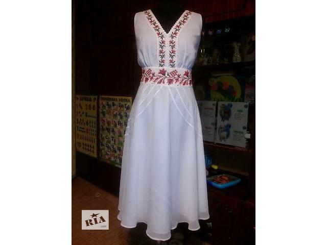 Платье белое шифоновое с вышивкой- объявление о продаже  в Киеве