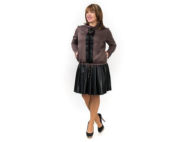 бу Платье стильное, еко-кожа+франц.трикотаж, 52-54 р. в Коломые