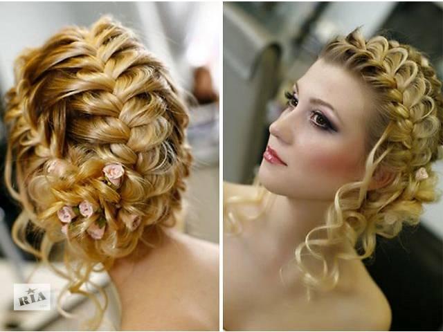 Прическа на торжество из кос