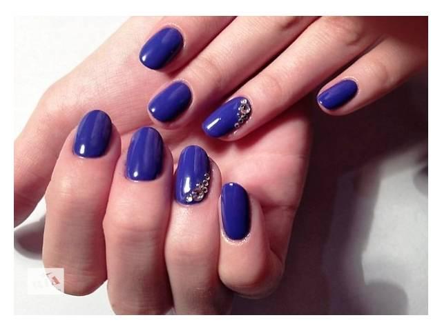 Маникюр синим лаком на короткие ногти