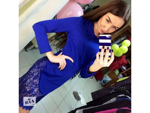 бу Праздничное мини платье с гипюром и воротником в наличии в Запорожье