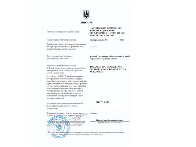 продам Продам готовый бизнес по выдаче кредитов! Новое кредитное учреждение с лицензией на кредитование бу  в Украине
