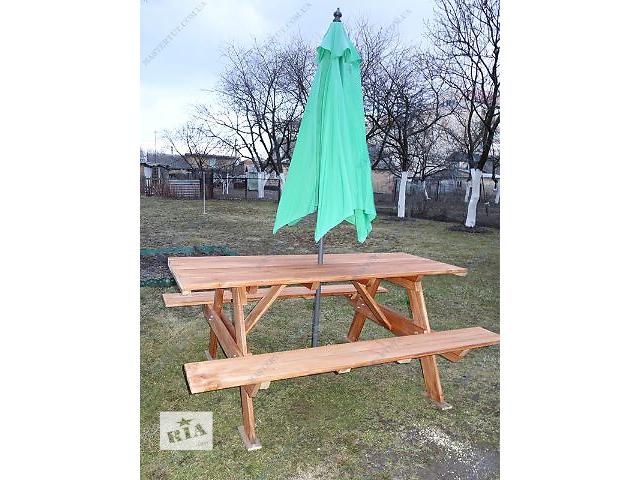 Продам недорого дачную деревянную мебель, садовый деревянный стол с лавками- объявление о продаже  в Киеве