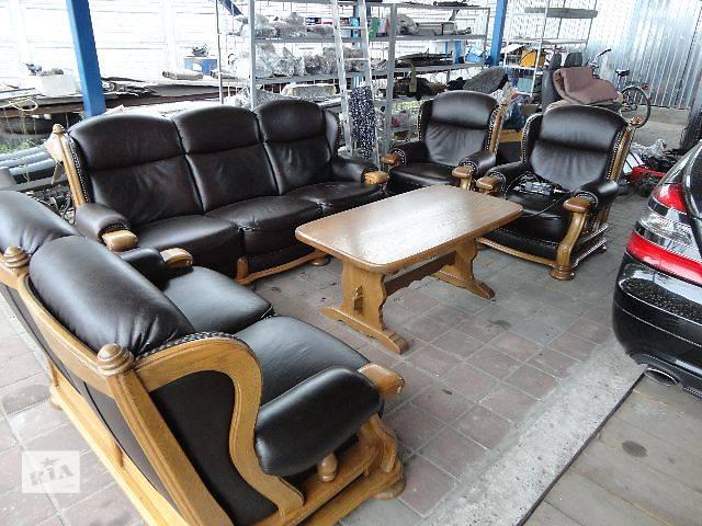 купить бу Продам кожаный комплект для офиса или гостиной, диван 3р + диван софа + 2 кресла в отличнейше состоянии в Смеле