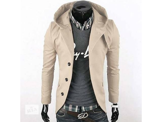 Приталенная бежевая куртка с капюшоном на пуговицах- объявление о продаже  в Черкассах