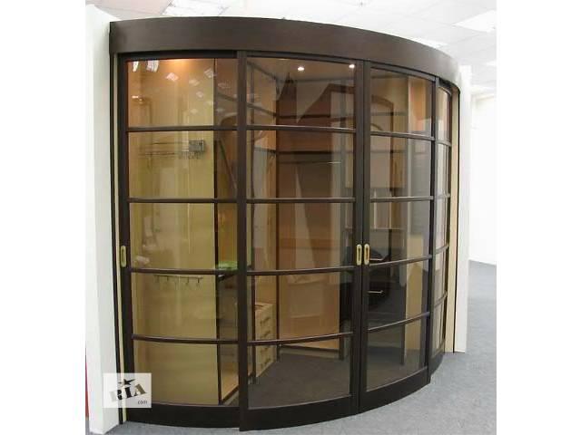 Радиусные двери стеклянные под заказ - межкомнатные, раздвиж.