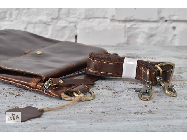 продам Роскошная и стильная мужская кожаная сумка-мессенджер.Ручная работа. бу в Киеве