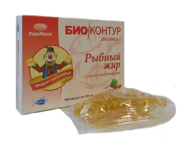 """бу Рыбный жир """"БиоКонтур"""" с экстрактом боярышника БАД 100 капсул  в Украине"""