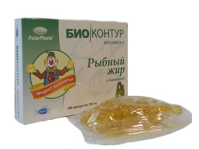 """бу Рыбный жир """"БиоКонтур"""" с ламинарией БАД 100 капсул  в Украине"""