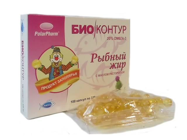 """Рыбный жир """"БиоКонтур"""" с маслом расторопши БАД 100 капсул- объявление о продаже   в Украине"""