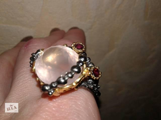 купить бу Серебряное кольцо с натуральным розовым кварцем! Таиланд в Виннице