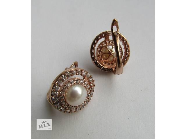 Серебряные серьги с Жемчугом и Топазами в позолоте!! видео- объявление о продаже  в Сумах