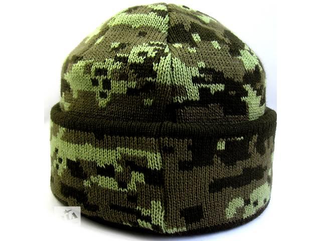 Шапка в'язана зимова, піксель світло зелений, №4, шапка військова маскувальна камуфляж- объявление о продаже  в Черновцах