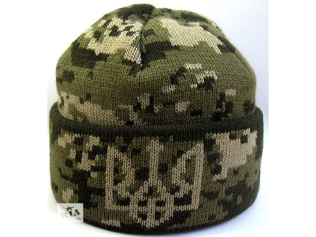 продам Шапка вязанная Герб № 5 . Шапка пиксель светло коричневый . Шапка вязанная , военная , маскировочная бу в Черновцах