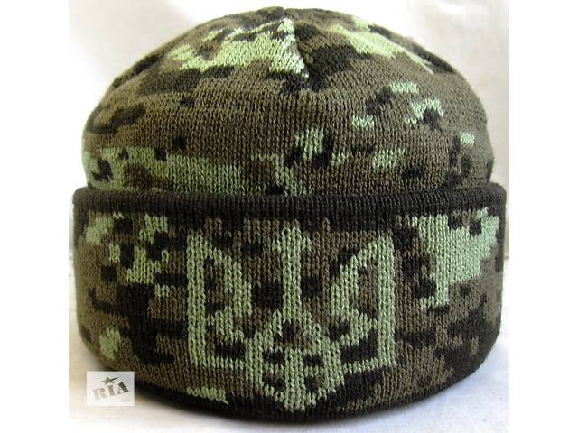 Шапка вязанная на флисовой подкладке , №6 Герб Украины , флис на пол головы ..- объявление о продаже  в Черновцах