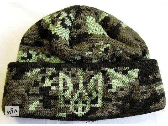 купить бу Шапка вязанная с флисовой подкладкой .№7 Герб Украины , подкладка флисовая  на всю голову в Черновцах