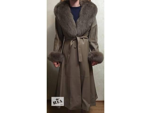 купить бу Кожаное пальто с мехом в Хмельницком