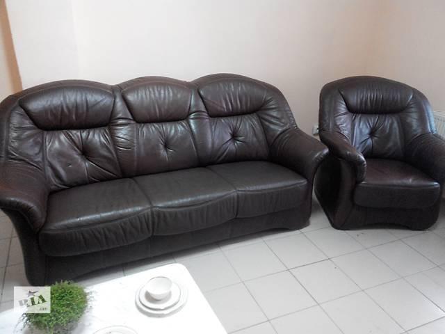 купить бу Кожаный диван + кресло в Львове