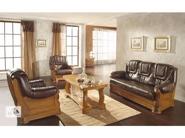 продам Кожаный раскладной диван + 2 кресла на дубе Aneta II бу в Дрогобыче