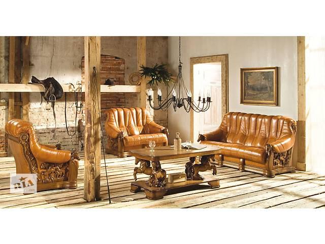 шикарний антикварний шкіряний комплект Oskar диван + 2 крісла, шкіра,кожа.- объявление о продаже  в Дрогобыче