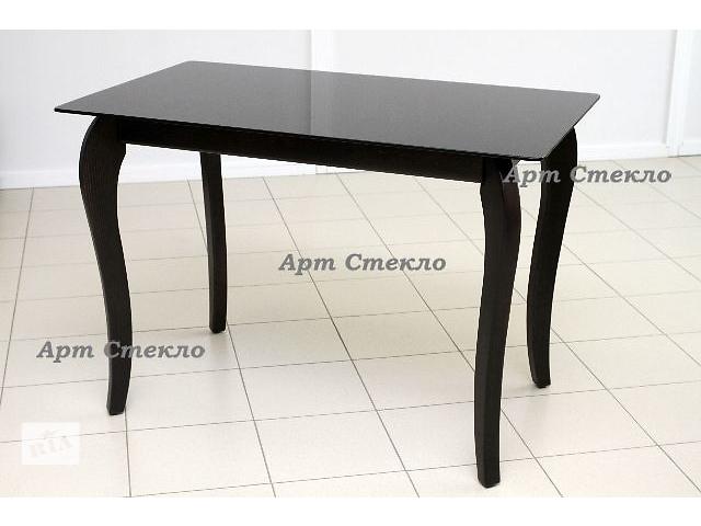 купить бу Стеклянный обеденный стол на деревянных ногах в Дружковке