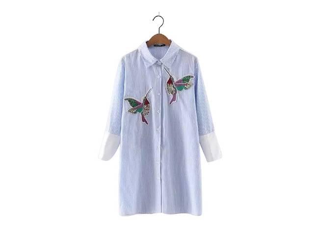 купить бу Стильная блуза, рубашка в голубую полоску с вышивкой.Оригинал в Киеве