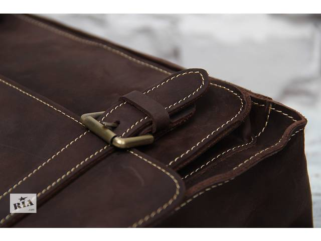 Стильная коричневая мужская сумка из натуральной кожи.Ручная работа.- объявление о продаже  в Киеве