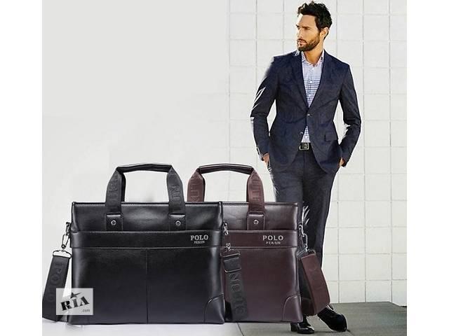 Стильная мужская сумка Polo, 29/37/8., коричневый и чёрный цвет, PU кожа (Полеуретан). Много Вариантов- объявление о продаже  в Киеве