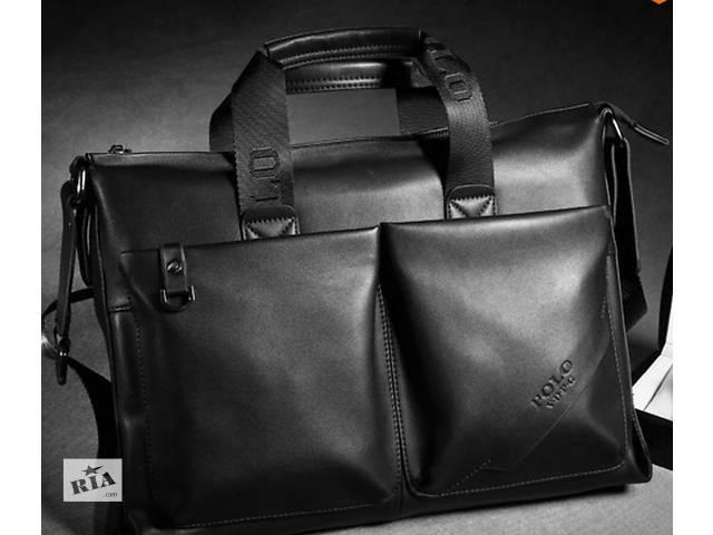Стильная мужская сумка Polo, 40/28/8., чёрный цвет, Полеуретан.- объявление о продаже  в Киеве
