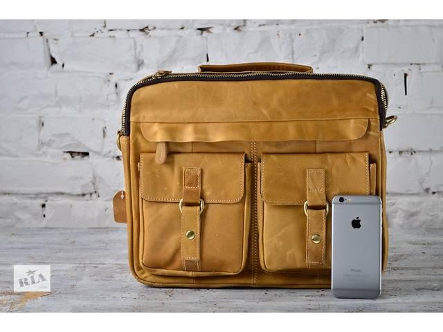 продам Стильная мужская сумка-портфель из натуральной кожи.Ручная работа.Три цвета кожи бу в Киеве