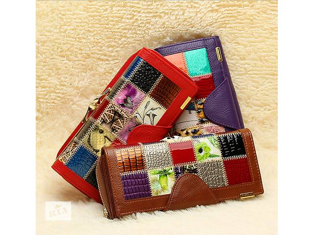 купить бу Стильный кожаный кошелёк patchwork в Киеве