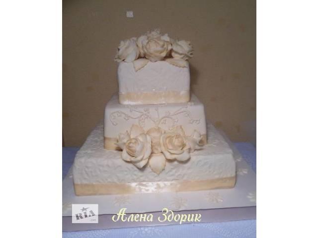 купить бу Свадебеный 3-х ярусный торт с розами цвета шампань в Киеве