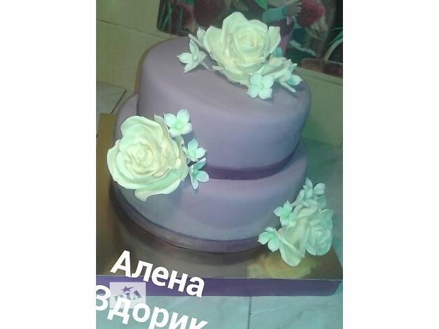 Свадебный 2-х ярусный сиреневый торт с розами цвета шампань- объявление о продаже  в Киеве