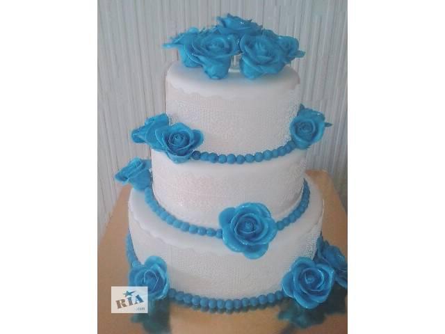 купить бу Свадебный 3-х ярусный торт с кружевами и синими розами в Киеве