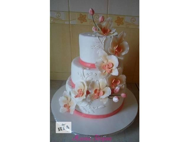 продам Свадебный 3-х ярусный торт с орхидеями  бу в Киеве