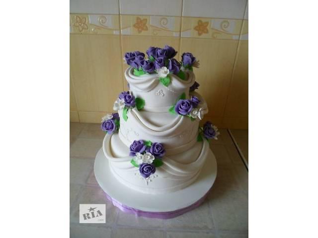 Свадебный 3-х ярусный торт с тканью и розами - объявление о продаже  в Киеве