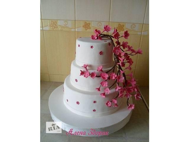 купить бу Свадебный 3-х ярусный торт с веткой сакуры в Киеве