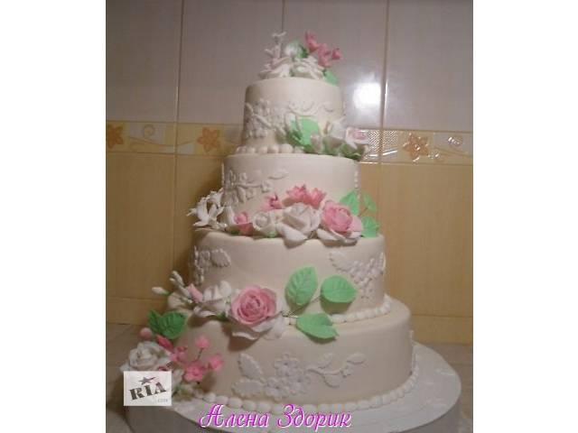 бу Свадебный 4-х ярусный торт с веточками цветов  в Киеве
