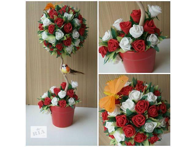Топиарий розы своими руками из салфеток своими руками