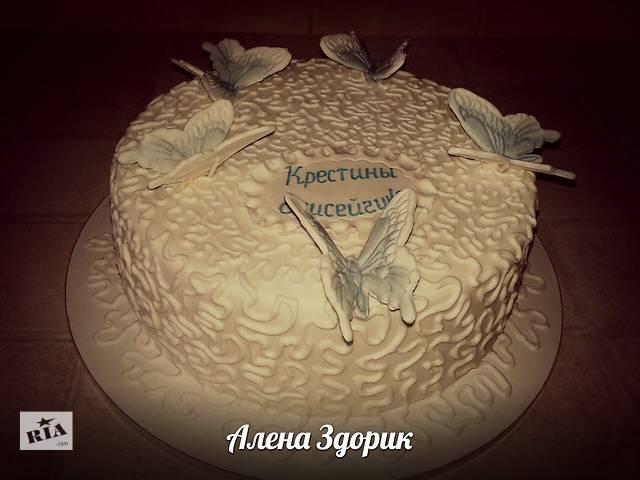 Торт на крестины c бабочками- объявление о продаже  в Киеве