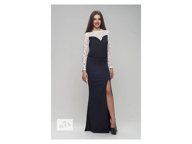 Трикотажное чёрное с молочным платье арт.3612- объявление о продаже  в Киеве