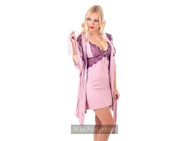 купить бу Трикотажный кружевной комплект, ночная рубашка+халат, К108 в Харькове