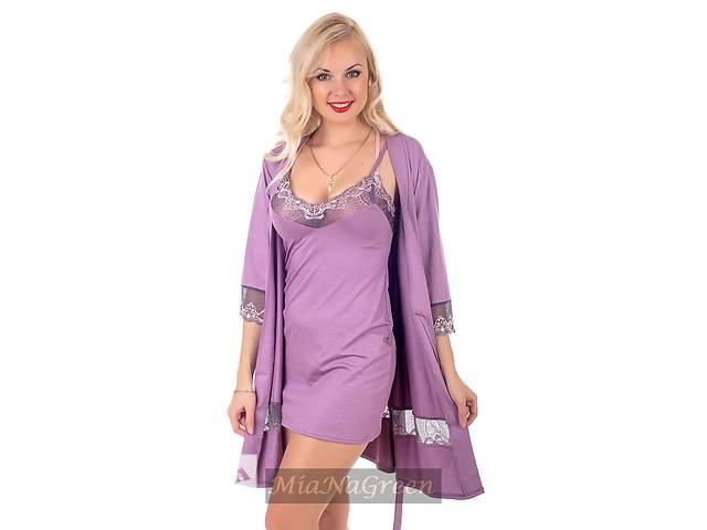 купить бу Трикотажный кружевной комплект, ночная рубашка+халат, К112н в Харькове