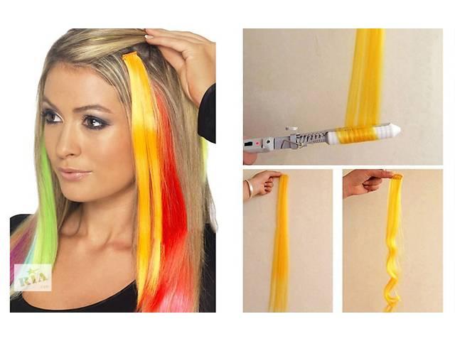 бу Цветные пряди на заколках, для волос термо, яркие трессы, на клипсах, накладные пряди волос в Киеве