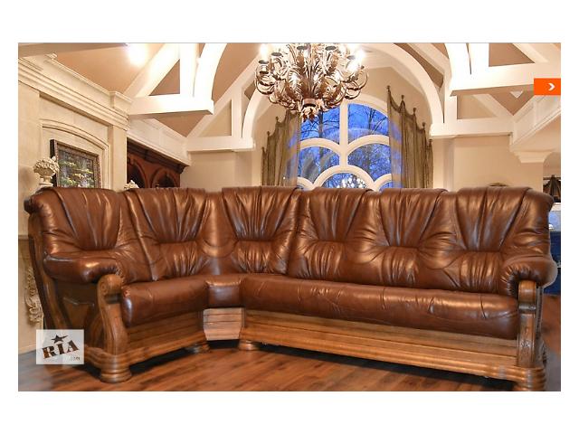 продам Угловой кожаный диван класика Кардинал Алькор, коричневый 1+уг+3р бу в Киеве