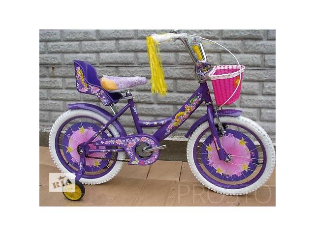 """Велосипед двухколёсный Azimut Girls 14"""" дюймов с корзинкой+сиденье для куклы, фиолетовый- объявление о продаже  в Одессе"""