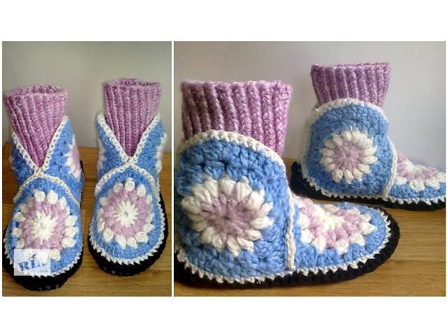 купить бу Домашние женские тапочки сапожки спицами 36-37 размер розово-голубые в Запорожье