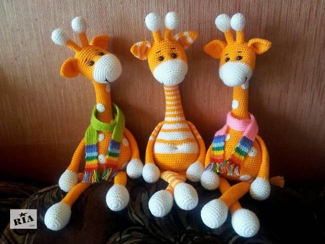 бу Вязанная игрушка жираф 43 см с шарфом в Харькове