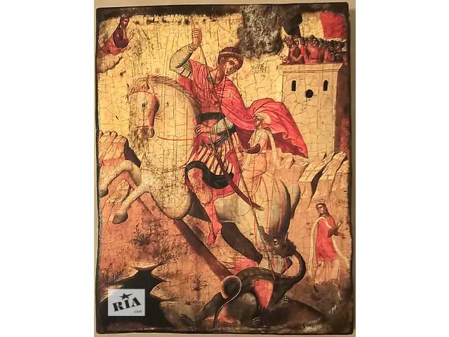 """бу Икона (копия,византия, XVI век) """" Георгий Победоносец"""" 24/26см. в Одессе"""