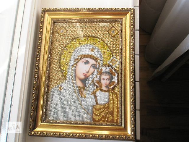 """купить бу икона вышитая чешским бисером """"Божья Мать"""" в Кременчуге"""